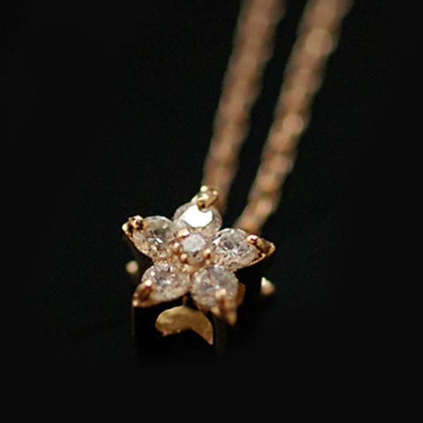 【made in japan】18金 K18PGダイヤモンド星ネックレス 023