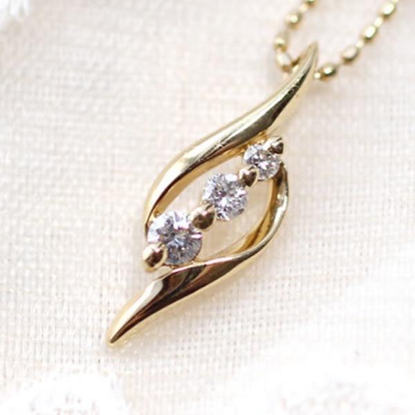 【made in japan】18金 K18ダイヤモンドバラネックレス 024