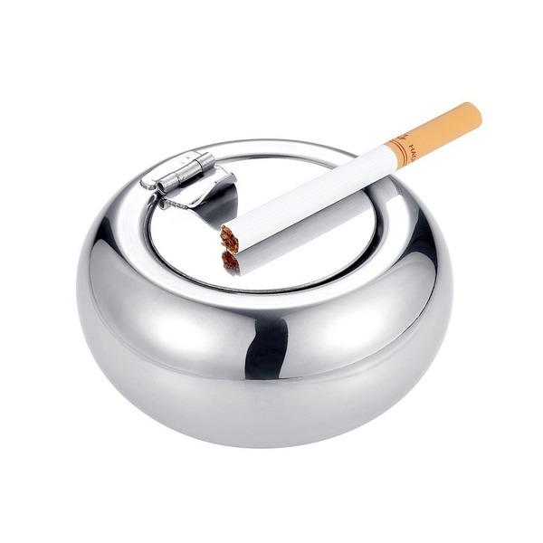 SUCOOL 灰皿 蓋付き 丸型 大容量 煙と臭いを遮断 ステンレス 卓上灰皿