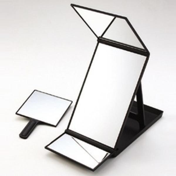 ヘアカラー用 卓上ミラー/化粧鏡 【190cm×420cm×約450mm】 日本製 角度調整可 折りたたみ式 ハンドミラー付き