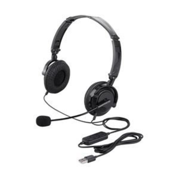 バッファロー(サプライ) 両耳ヘッドバンド式ヘッドセット USB接続/折りたたみタイプ ブラック BSHSUH13BK