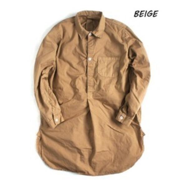 スウェーデン軍プルオーバースリーピングシャツ後染めレプリカ ベイジュ《36(レディースフリー相当)》