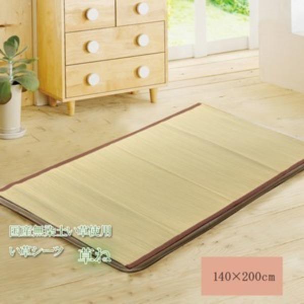 い草敷きパッド ダブル い草シーツ ネゴザ 国産 『草ね 汗取りP』 約140×200cm 2枚つなぎ