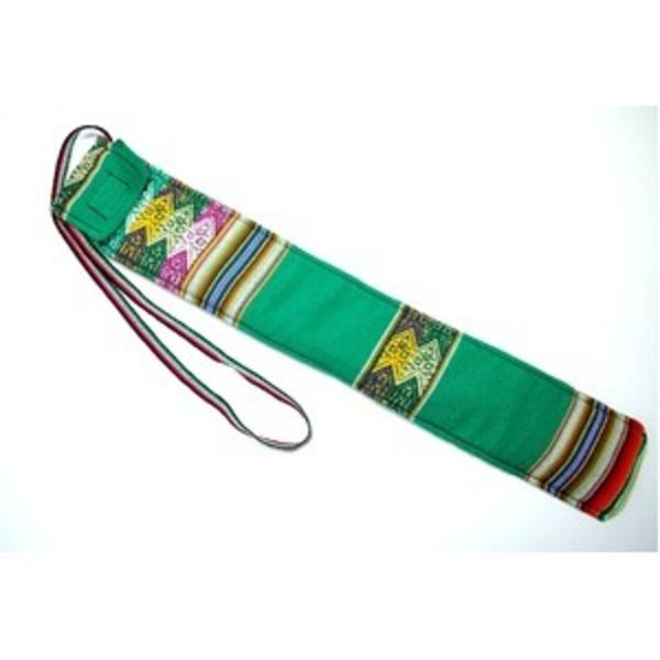 【QUENA SOFT CASE GREEN AGUAYO】民族楽器ケーナ用の布・ソフトケース アンデス織物のアワイヨ柄 グリーン(緑)★ペルー製
