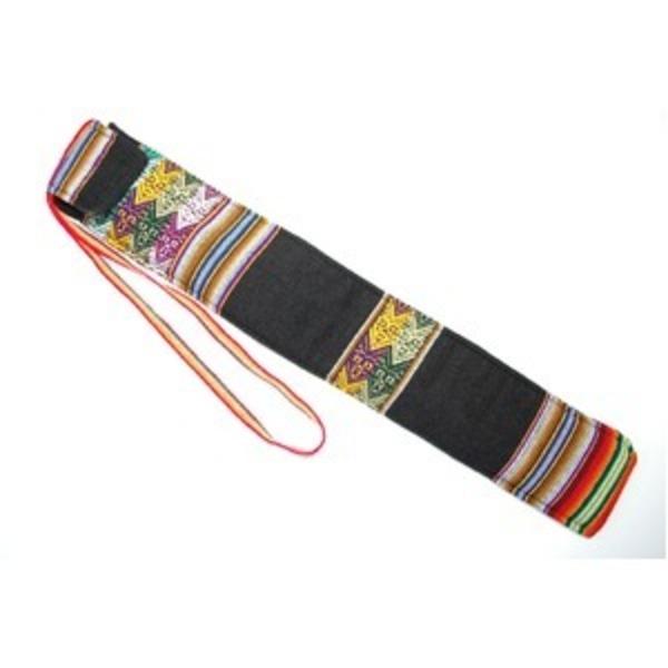 【QUENA SOFT CASE BLACK AGUAYO】民族楽器ケーナ用の布・ソフトケース アンデス織物のアワイヨ柄 ブラック(黒)★ペルー製