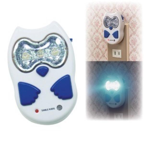 ふくろう型停電灯(LEDライト/常夜灯) 充電式 自動点灯 〔停電対策 玄関 廊下〕