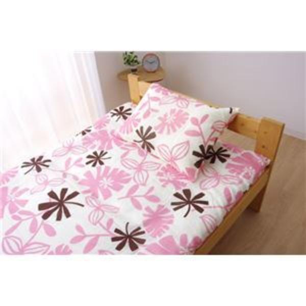 布団カバー 洗える 花柄 リーフ柄 『ルイード 敷布団カバー』 ピンク セミダブル 約125×215cm