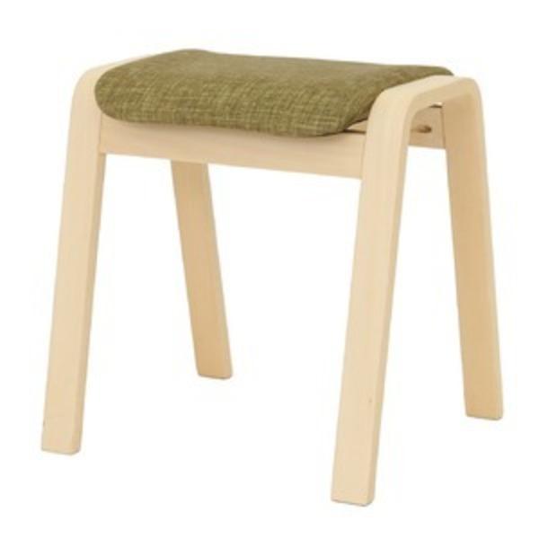 スタッキングスツール/腰掛け椅子 【同色4脚セット】 ファブリック木製脚 グリーン(緑) 【完成品】
