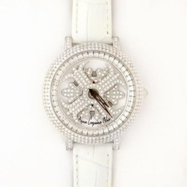 アンコキーヌ ネオ 40mm バイカラー ミニクロス シルバーベゼル インナーベゼルクリアー ホワイトベルト アルバ 正規品(腕時計・グルグル時計)