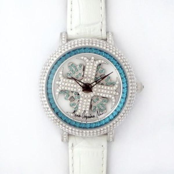 アンコキーヌ ネオ 40mm バイカラー ミニクロス シルバーベゼル インナーベゼルブルー ホワイトベルト アルバ 正規品(腕時計・グルグル時計)