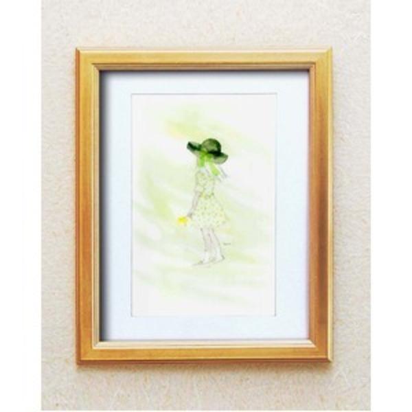 絵画額縁/ゴールドフレーム 【いわさきちひろ/春の風】 壁掛け用 ひも付き 中身入替可 日本製