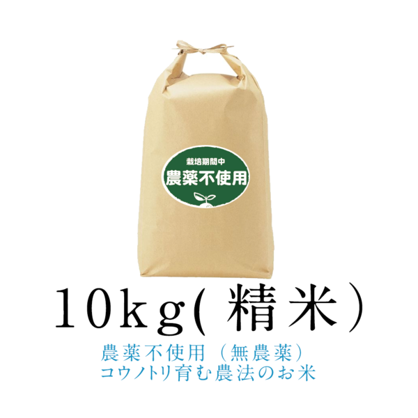 令和元年新米【農薬不使用(無農薬)】こうのとり米10kg(精米)