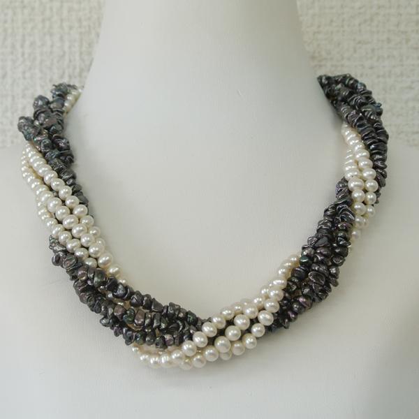 プリエ デザイナーズ 淡水真珠ネックレス(黒)