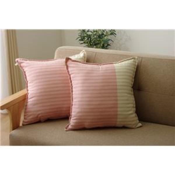 クッション 角型 綿100% セアテ 『サラ』 ピンク 約45×45cm 2枚組