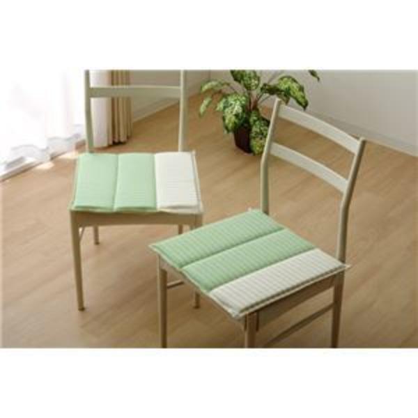 クッション 角型 綿100% タタキ 『サラ』 グリーン 約43×43cm 2枚組