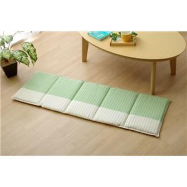 クッション 角型 綿100% フリーシート 『サラ』 グリーン 約43×130cm