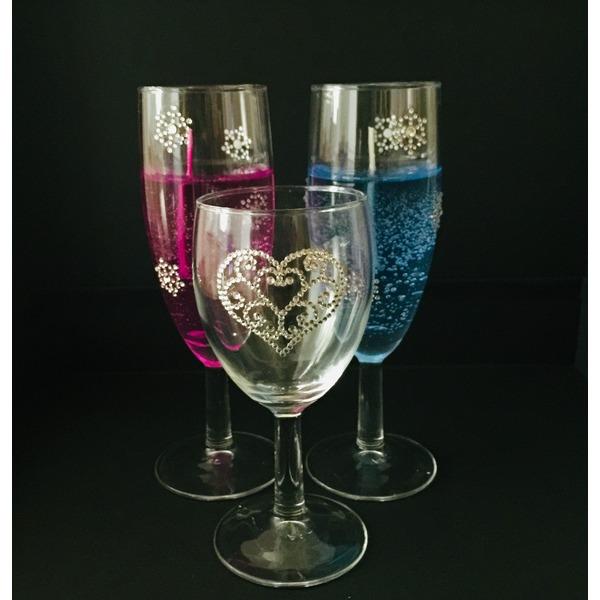 ラインストーンカラーキャンドル&ラインストーングラス(ハート)セット
