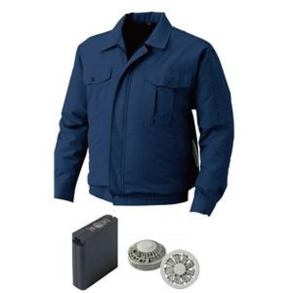 空調服 屋外作業用空調服 大容量バッテリーセット ファンカラー:グレー 0720G22C14S7 【カラー:ダークブルー サイズ:5L】