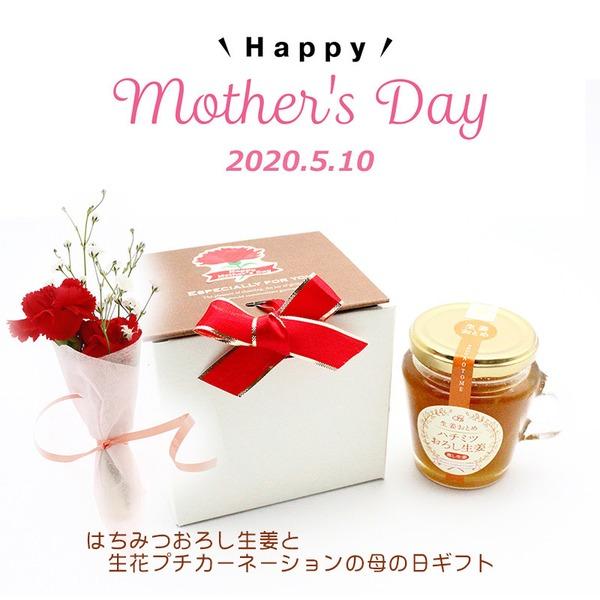 「母の日フラワー2020」ハチミツおろし生姜と生花のプチカーネーション
