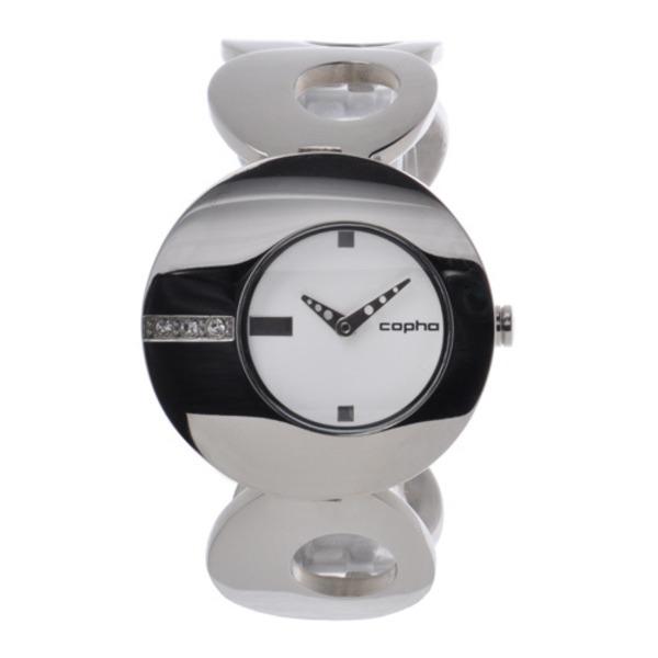 【北欧デザイン腕時計】 Copha コプハ  O オー Solid Bracelet White×Silver White Stones
