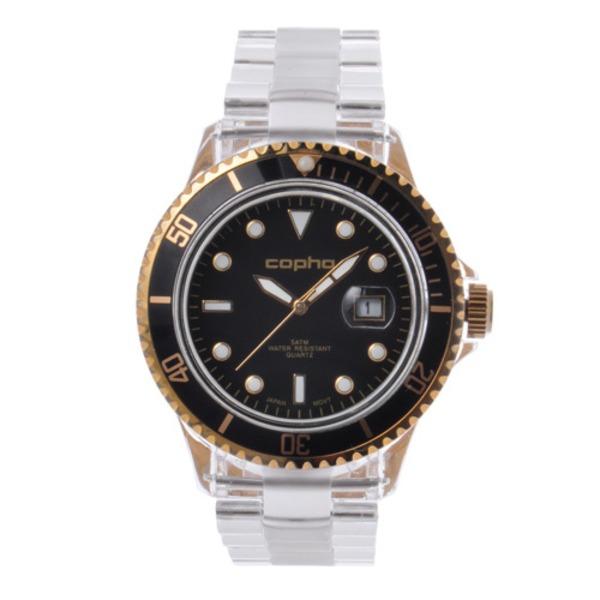 【北欧デザイン腕時計】 Copha コプハ  BRX Polycarbonate Bracelet (Black-Gold)