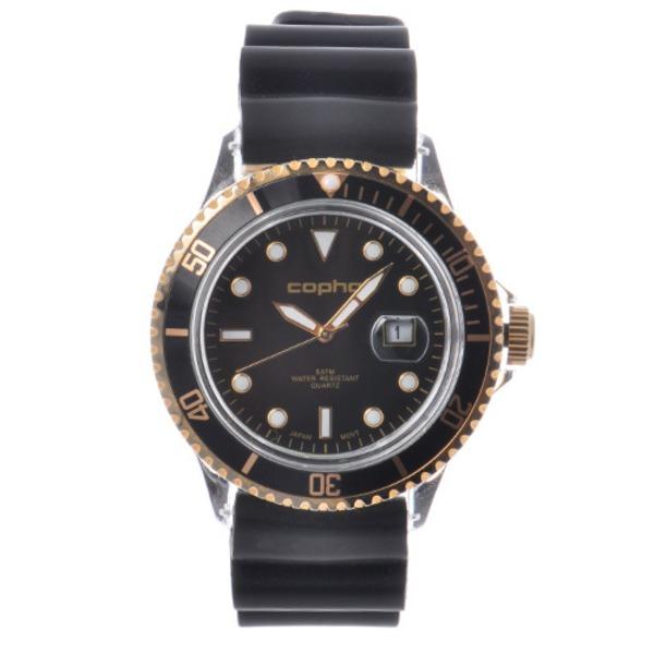 【北欧デザイン腕時計】 Copha コプハ  BRX Rubber Strap (Black-Gold×Black)