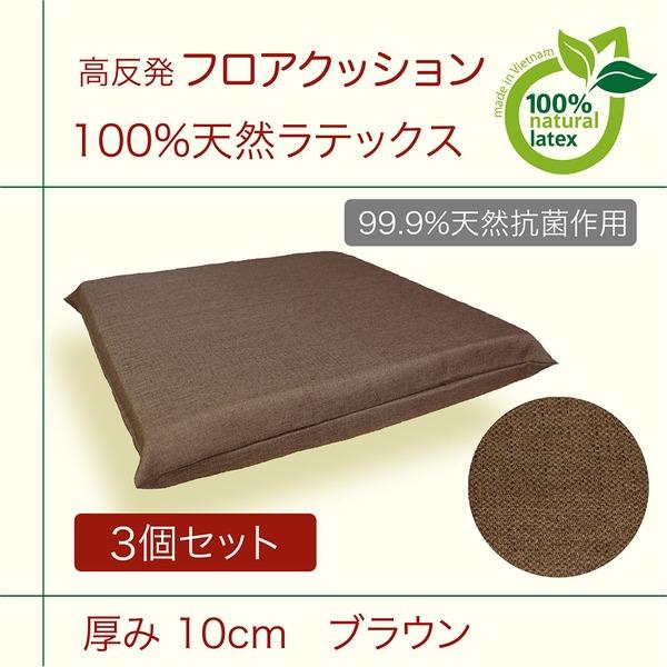 【 高反発 天然ラテックス フロアクッション 】『ブラウン』3個セット 厚み10cm 抗菌作用 防ダニ