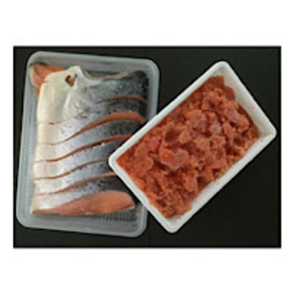 大型シャケ半身 (1.2kg前後 10切れ)& 辛子明太子 切子 (500g)セットのお得な商品です。